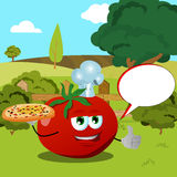 Chef tomato with pizza showing thumb up on a meadow with speech bubble Stock Photos