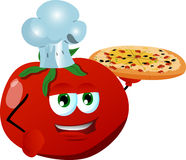 Chef tomato showing a delicious pizza Royalty Free Stock Photography