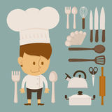 Chef and tool character, flat design Royalty Free Stock Photos