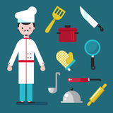 Chef and tools character, Set kitchen shelves and cooking utensils vector flat design cartool illustration.  Royalty Free Stock Photo
