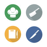 Chef tools flat design icons set Stock Photo