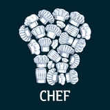 Chef toque label in shape of cook hats. Chef toque label in shape of white cook hats. Vector decoration emblem for cafe, restaurant, bakery, patisserie. Pencil Royalty Free Stock Images