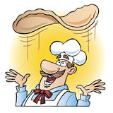 Chef tossing pizza dough. Cartoon illustration of a chef tossing pizza dough over his head with a yellow circular gradient background royalty free illustration