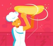 Chef tournant le vecteur de la pâte de pizza cartoon Appartement d'isolement d'art illustration stock