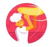 Chef tournant le vecteur de la pâte de pizza cartoon Appartement d'isolement d'art illustration libre de droits