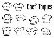 Chef traditional toques, caps and hats. Chef or baker white toques, caps and hats in outline style isolated on white background, for cafe menu or restaurant Stock Photos