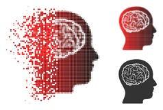 Chef tramé déchiqueté Brain Icon de pixel illustration de vecteur