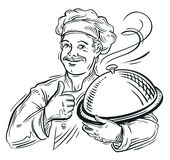 Chef with a tray in his hand. vector illustration Stock Photos