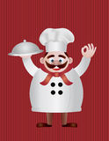 Chef with Tray Illustration Royalty Free Stock Photography