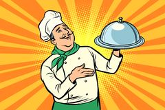 Chef with tray with lid. Comic cartoon pop art retro vector illustration drawing stock illustration