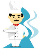 Chef With Tray. Chef with mustache wearing hat and white uniform holding a tray stock illustration