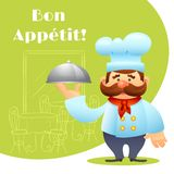 Chef With Tray Poster Stockbild
