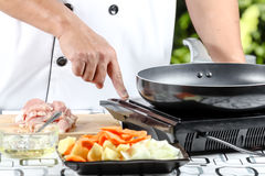 Chef trun stove Royalty Free Stock Images