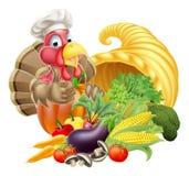 Chef Turkey And Cornucopia Royalty Free Stock Photos