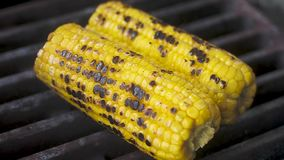 The chef turns over two fried sweet corn, which lies on a hot grill.  Cooking process.  Close-up, slow motion. The chef turns over two fried sweet corn, which stock footage