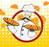 Chef with two pizzas Royalty Free Stock Images