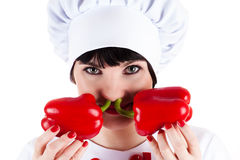 Chef and two red peppers Stock Photo
