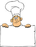 Chef in uniform. Vector illustration of a chef holding a blank sign board Stock Photo
