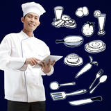 Chef using digital tablet Royalty Free Stock Photo