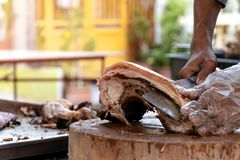 The chef is using a knife to cut the barbecued suckling pig.  stock photos