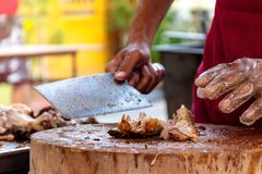 The chef is using a knife to cut the barbecued suckling pig.  royalty free stock photos