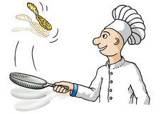 Chef (vector). Cook to work with the pot, drawing free-hand Royalty Free Stock Photos