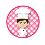 Chef Vector Illustration Design - circular pink background royalty free stock photo