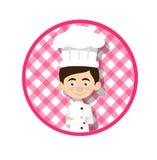 Chef Vector Illustration Design - kreisförmiger rosa Hintergrund lizenzfreies stockfoto