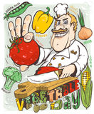 Chef vegetable day. Vector illustration royalty free illustration