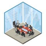 Chef- vergaderings commerciële centrum vlakke isometrische vector 3d vector illustratie