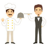 Chef And Waiter Holding Tray Royalty Free Stock Photography