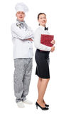 Chef and waiter in uniform on a white working team Stock Photo