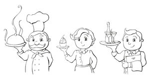 Chef, waiter and waitress. Line drawing of the chef, waiter and waitress stock illustration