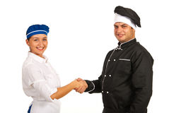 Chef and waitress hand shake Royalty Free Stock Images