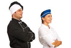 Chef and waitress looking to future Stock Image