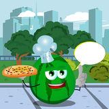 Chef watermelon holding pizza with attitude in the city park with speech bubble Stock Photography