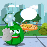 Chef watermelon with pizza holding a stop sign in the city park with speech bubble Royalty Free Stock Photos