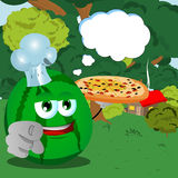 Chef watermelon with pizza pointing at viewer in the forest with speech bubble Royalty Free Stock Photography