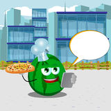 Chef watermelon with pizza and tablet in the city with speech bubble Stock Photos