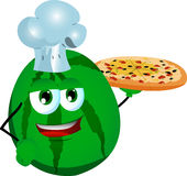 Chef watermelon showing a delicious pizza Royalty Free Stock Photos