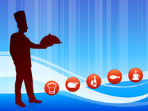 Chef on wave background with internet buttons Royalty Free Stock Images