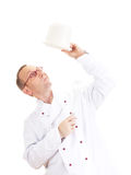 Chef with whisk and bowl Royalty Free Stock Photo