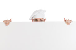 Chef with white blank board Royalty Free Stock Photo