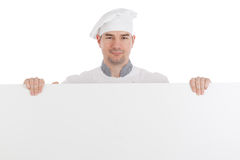 Chef with white blank board Royalty Free Stock Images