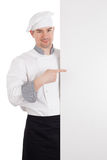 Chef with white blank board Stock Photos