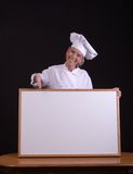 Chef With White Board Stock Photo