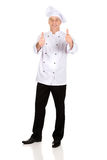 Chef in white hat with ok sign Royalty Free Stock Images