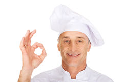 Chef in white hat with perfect sign Royalty Free Stock Photo