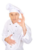 Chef in white hat with perfect sign Stock Photos