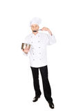 Chef in white uniform tasting his soup Stock Images